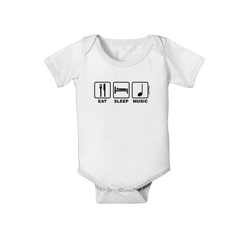 Eat Sleep Music Design Baby Romper Bodysuit by TooLoud