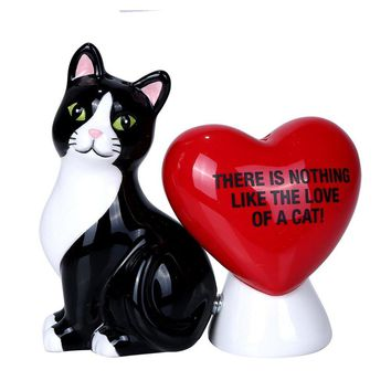 Nothing Like The Love of A Cat Ceramic Magnetic Salt and Pepper Shaker Set