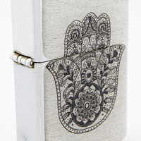 Windproof Customized Chrome Oil Lighter - B&W Hamsa Hand #3 - Collectable, Refillable, Damn Cool. :)