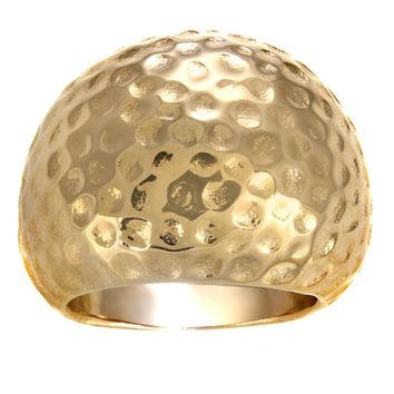 Metro Jewelry Stainless Steel Hammered Ring with Gold Ion Plating