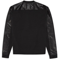 Black Croc Leather Sweatshirt