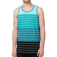 Zine Greenz Green and Black Striped Tank Top
