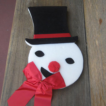 1960s Vintage Snowman Hang Up - OOAK, Handmade Vintage Christmas Snowman Wall Hanging - Mad Men Christmas Party Decor - 60s Christmas Window