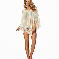 Elan Beach Crochet-Trim Poncho - Natural