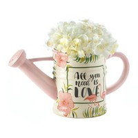 Pink Flamingo Watering Can Planter