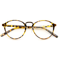 Vintage Inspired Horned Rim Metal Bridge P3 Clear Lens Glasses