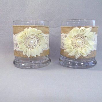 "Burlap and Ivory Lace Pillar Votive Candle Holder Small Vase 4"" Glass with Shabby Chiffon Flower Rustic Shabby Chic Wedding Set of 2"