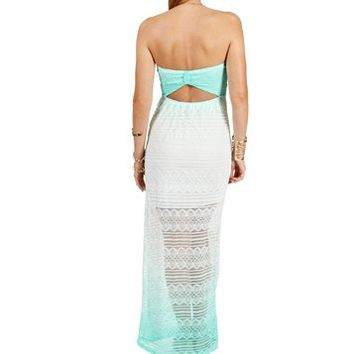 Mint Strapless Ombre Lace Maxi Dress
