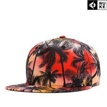 2017 Real Print Wuke/ Dance Hall Customer New Product European Street Trend Men And For Coconut Tree 3d Printing Hip Hop Hat