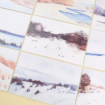 30pcs/box distant place scenery diy memo pad postcard message paper gift card post it school supply bookmark