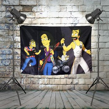 """SIMPSON"" Large QUEEN Rock Flag Banners Four-Hole Wall Hanging Painting Bedroom Studio Party Music Festival Background Decor"