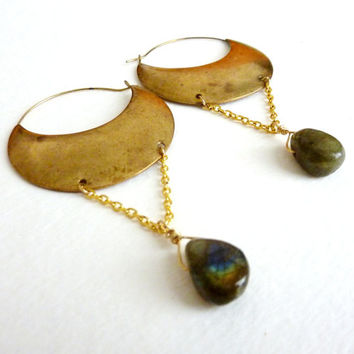 Labradorite Hoops. Natural Bohemian Tribal Statement Earrings