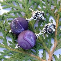 RESERVED. Purple Druzy Handmade Earrings Agate Sterling OOAK Jewelry