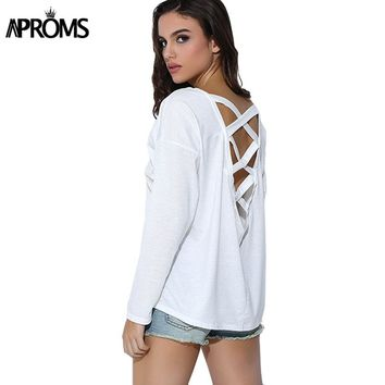 Aproms Solid Color Long Sleeve T-shirt Women Summer 2018 Back Lace Up Loose T shirt Autumn Backless White Tshirt Tee Big Size