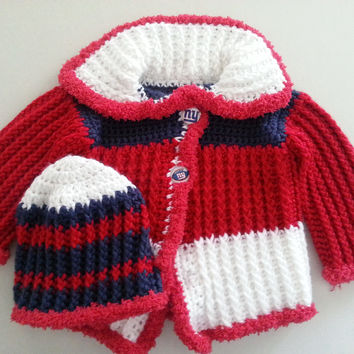 NY Giants Baby Sweater and Hat Set Size 6 to 9 Months