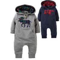 Animal Overalls  Fashion Brand Baby Roupas De Bebe Long Sleeve With hoodie Infant Rompers Bear Deer Printed Animal Overalls