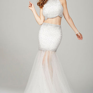 White Two-Piece Prom Dress 36500