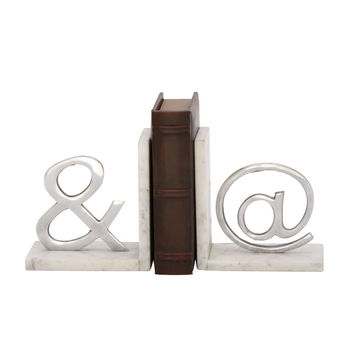 49662 Stunning Aluminum Marble Bookend Pair