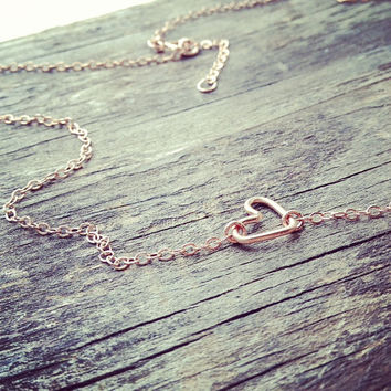 Handmade Rose Gold Filled Tiny Sideways Heart Necklace - Handmade - All Rose Gold Filled - Everyday Jewelry