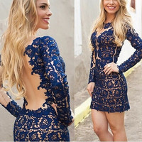 2014 brand New Sexy Women Short Sleeve summer Gauze Lace dress cocktail party Floral Hallow Bandage Dresses = 1956541828