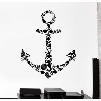 Wall Vinyl Decal Bathroom Sea Ocean Anchor Fish Shell Home Interior Decor Unique Gift z4171