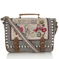 Postcard Tweed Large Satchel Bag | Grey | Accessorize