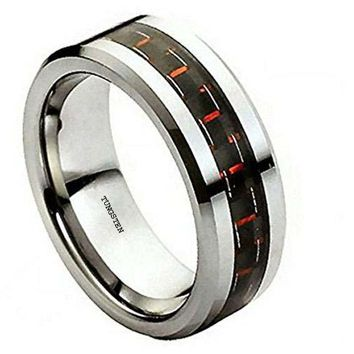 CERTIFIED 8 Mm Polish Edge Red Carbon Fiber Inlay Tungsten Ring Wedding Band