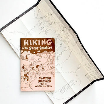 Vintage 1980s Hiking Guide to the Great Smoky Mountains by Carson Brewer - Extra Trail Map, Nature Walks, Mountain Travel Adventures
