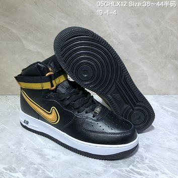 HCXX N747 Nike Air Force 1 AF1 Velcro USA Hihgt Leather Casual Skate Shoes Black Yellow