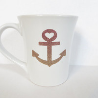 Anchor Heart * Personalized Coffee Cup * Personalized Gift Mug * Coffee Cup * Coffee mug * Personalized Coffe mug * Ombre Glitter