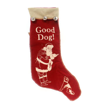 Christmas GOOD DOG STOCKING Fabric Santa Jingle Bells Puppy 16696