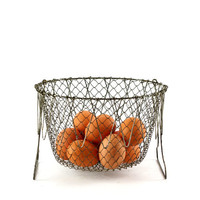 Vintage Wire Egg Basket, Collapsible Basket, Metal Basket, Farmhouse Decor, French Country Kitchen