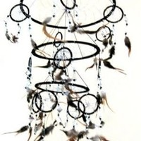 "Dream Catcher Traditional SUEDE Black Color With Feathers & Beads, 7"" Diameter & 25"" Long - OMA® BRAND"