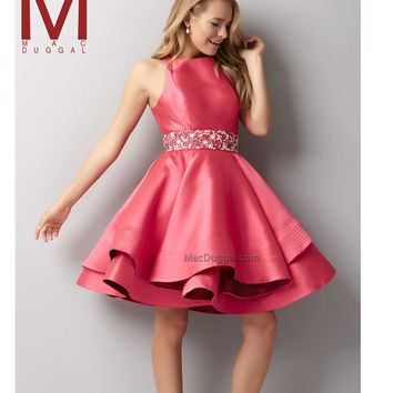 Mac Duggal 48378 Lipstick Pink Sleeveless Beaded Ruffled Short Dress 2015 Homecoming Dresses