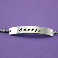 Personalized Name Plate Bracelet - Custom Handstamped Bracelet