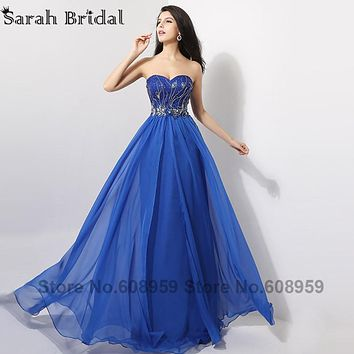 Elegant Royal Blue Long Evening Dresses 2017 Hot Sale Sweetheart Crystal Beads Chiffon Party Gowns Vestidos De Noche AJ009