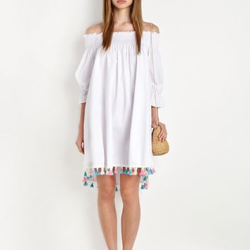 WHITE OFF THE SHOULDER POM POM TASSEL DRESS