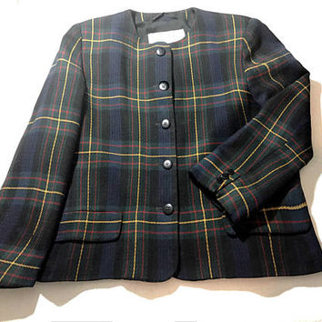 ON SALE Vtg 80s British Designer JAEGER blazer, preppy navy blue / green plaid rounded neck button down cropped wool prep school girl jacket