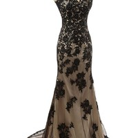 Sunvary Black and Champagne Lace Mermaid Mother of the Bride Dresses Long Formal Reception Prom Gowns Size 2- Black and Champagne