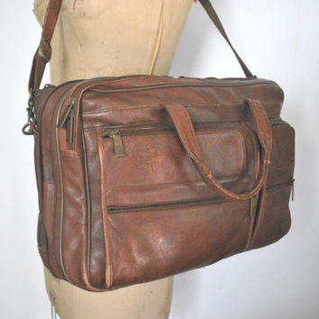 Brown Leather Laptop Computer bag / UNISEX messenger / Bill Blass