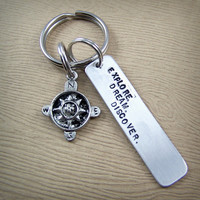 Explore. Dream. Discover. Compass Keychain - Word Keychain - Travel Keychain - Mark Twain Quote Keychain