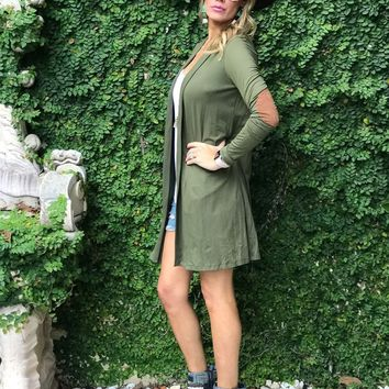 Bridgehampton Elbow Patch Cardigan in Olive