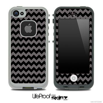V4 Chevron Pattern Black and Gray Skin for the iPhone 5 or 4/4s LifeProof Case