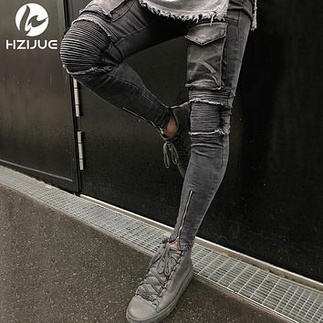 Hi-Street Men Knee Ripped Big Hole Men Jeans Streetwear Skateboard Straight Pants Man Casual Elastic Jeans