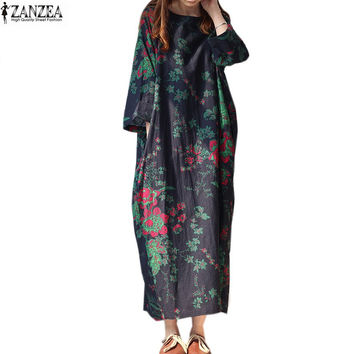 ZANZEA 2017 Womens 3/4 Sleeve Floral Retro Printed Pockets Loose Casual Baggy Cotton Long Dress Kaftan Plus