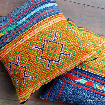 "16"" Colorful Yellow Ethnic Hmong Embroidery Cross Stitch  and Batik Throw Pillow Cushion Cover"