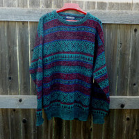1980's Puritan Sweater Hipster Teal Fuzzy XL