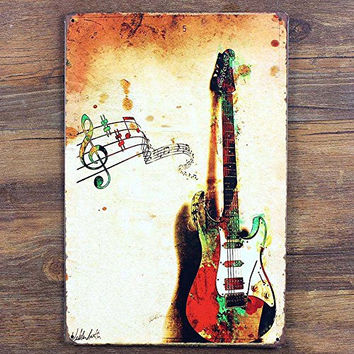 Music Guitar Retro Vintage Tin Sign, 8*12 Inches