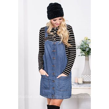 Sweet Denim Overall Dress