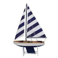 """Wooden It Floats 21"""" - Rustic Blue Striped Floating Sailboat Model"""